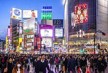 Scramble Kousaten crossing in Hachiko square, Shibuya, Tokyo, Japan