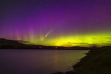 Comet NEOWISE (C/2020 F3) with the Northern Lights over the Waterton River at Waterton Lakes National Park, Alberta, on July 13-14, 2020. This was from the Maskinonge picnic area.