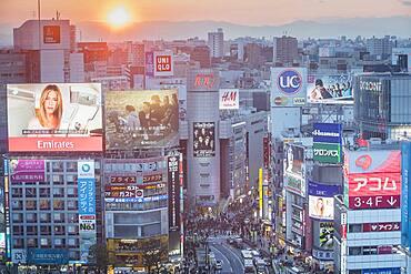 Shibuya skyline. Tokyo city, Japan