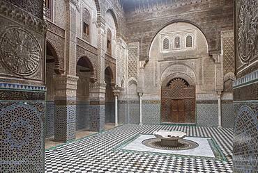 Medersa or Madrasa el-Attarine,medina, Fez el Bali, Fez, Morocco