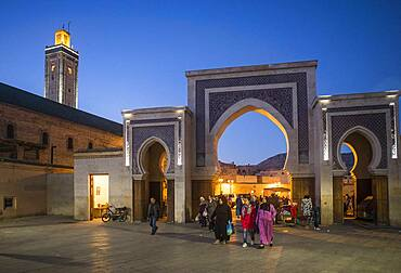 Bab R'Cif gate and Mosque R'Cif, in R'Cif Square, gateway to andalusian quarter, medina,Fez, Morocco.