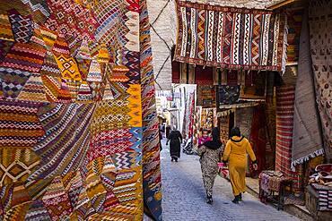 Carpet shop, in Talaa Kebira street,medina, Fez. Morocco