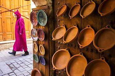 Pottery shop, in Talaa Kebira street, medina, Fez. Morocco
