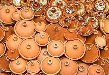 Pottery shop, pottery for cooking traditional tajine, medina, Fez. Morocco