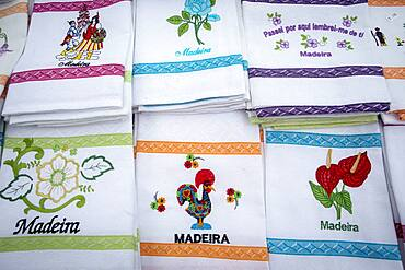 Traditional embroidery on tablecloths and napkins, Funchal, Madeira, Portugal