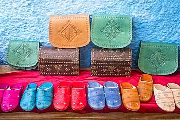 Souvenir shop, street market, in  Kasbah of the Udayas, Rabat. Morocco