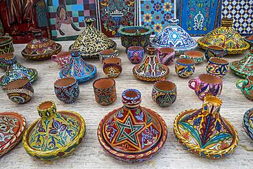 Tajine pottery for sale, souvenir shop, street market, in  Kasbah of the Udayas, Rabat. Morocco