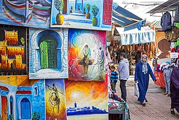 paintings, souvenir shop, Souika street, medina, Rabat. Morocco