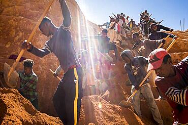laborers digging for sapphires in the mines of Ilakaka in Madagascar
