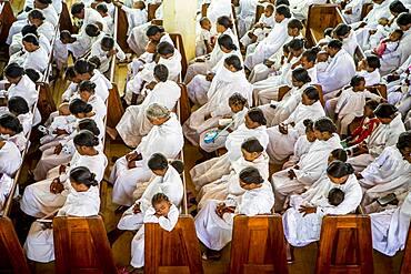 Followers of the Christian sect of Fifohazana, sunday mass, Soatanana village, Madagascar