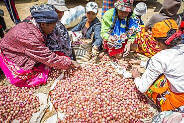 Onions stand, food market, Fianarantsoa city, Madagascar