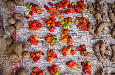 Stanll detail,tamarind, potatoes,peppers, food market of Ambohimahasoa city, Madagascar