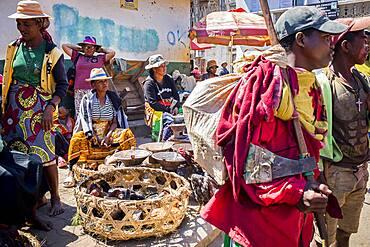 Street scene, in food market of Ambohimahasoa city, Madagascar