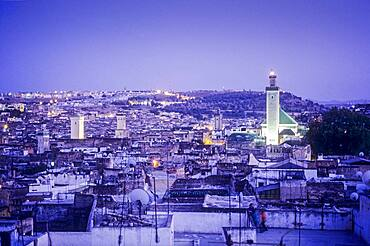 Elevated view over the Medina, UNESCO World Heritage Site, Fez, Morocco, Africa.