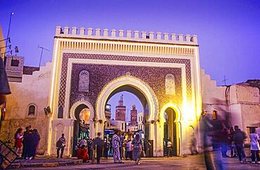 Bab Boujeloud, gateway through the town wall to the historic town centre or Medina, UNESCO World Heritage Site, Fez, Morocco, Africa.
