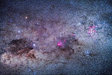 The amazing area of the southern Milky Way in Carina and Crux, the brightest part of the Milky Way after the galactic core region. At right is the Carina Nebula, with the Southern Pleiades cluster, IC 2602, below it. The Football Cluster, NGC 3532, is at upper left of the Carina Nebula. At centre is the region of Lambda Centauri, with the star cluster NGC 3766, the Pearl Cluster, above the emission nebulosity. At left is the Southern Cross, with the dark Coal Sack at bottom left of the Cross, with thin tendrils extending to the right. To the left of Alpha Cruxis at the bottom of the Cross is the star cluster NGC 4609; aboive Alpha is NGC 4649. To the left of Beta Cruxis at the left side of the Cross is the Jewel Box Cluster, NGC 4755.