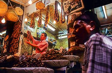 Seller of nuts, Medina, UNESCO World Heritage Site, Fez, Morocco, Africa.
