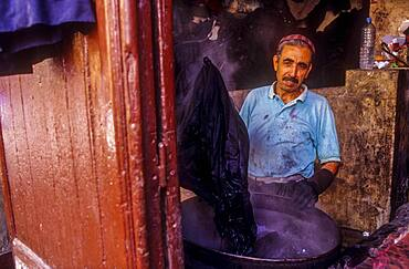Dyer working, Medina, UNESCO World Heritage Site, Fez, Morocco, Africa.