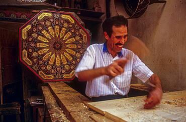 Carpenter,in Nejjarim square, Medina, UNESCO World Heritage Site, Fez, Morocco, Africa.