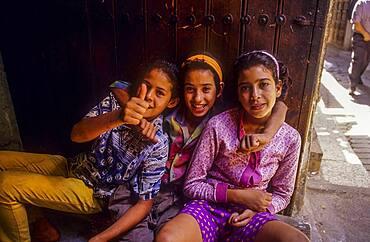 Girls, Medina, UNESCO World Heritage Site, Fez, Morocco, Africa.