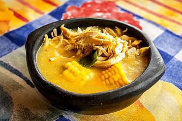 Ajiaco, in Hato Viejo restaurant, Traditional colombian cuisine, Medellín, Colombia