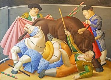 `El Quite´. Painting by Fernando Botero, Antioquia Museum, Museo de Antioquia, Medellín, Colombia