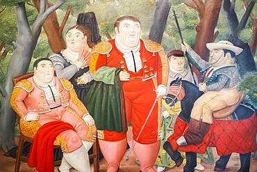 """`El Zurdo y su cuadrilla´or """"El Zurdo and his Cuadrilla"""",´.Painting by Fernando Botero, Antioquia Museum, Museo de Antioquia, Medellín, Colombia"""
