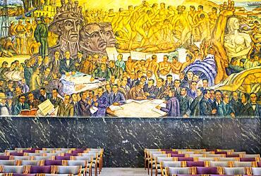 `La República´.Mural by Pedro Nel Gómez. In Council Hall of the former Municipal Palace, today Antioquia Museum, Museo de Antioquia, Medellín, Colombia