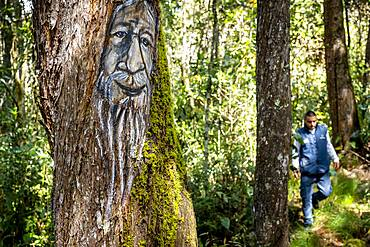 Mohan god, protector of the rivers and thief of women, myths and legends trail, Arví Park, Medellin, Colombia