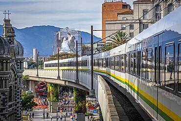 metro, subway, A line between Prado station and Hospital station, city center, skyline, Medellín, Colombia