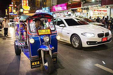 Traffic, at Yaowarat road, Chinatown, Bangkok, Thailand
