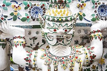 Detail, ornamentation,sculpture, statue, decoration, in Wat Arun (Temple of Dawn), Bangkok, Thailand