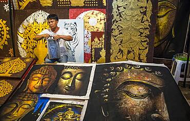 Paintings, Sunday evening market or walking street, Chiang Mai, Thailand