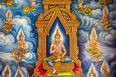 Mural paintings, in Wat Chiang Man Temple, Chiang Mai, Thailand, Asia