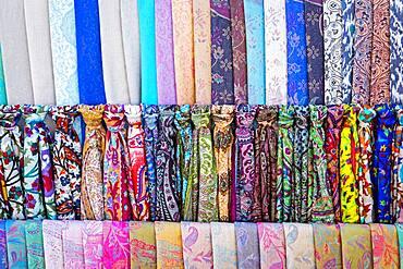 silk scarves, bazaar, Bukhara, Uzbekistan