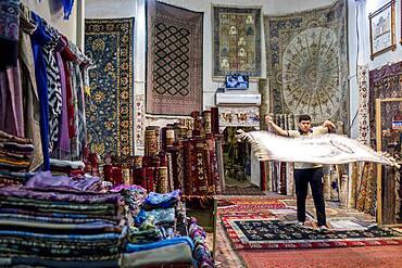 Carpet shop, in Taki Zargaron bazaar, Bukhara, Uzbekistan