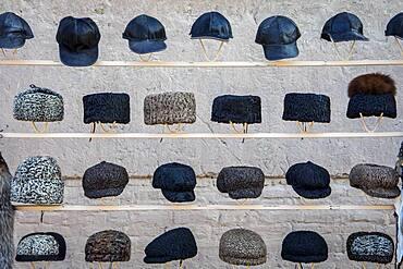 Fur hats for sale, Khiva, Uzbekistan