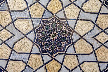 Detail, ornamentation, courtyard of Bibi-Khanym Mosque, Samarkand, Uzbekistan