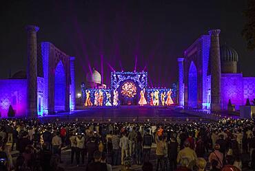 Video mapping or Light show in Registan, Samarkand, Uzbekistan