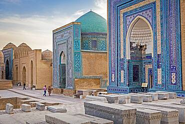 At right Ulugh Sultan Begim mausoleum, in the middle Ustad Ali mausoleum, and at left Shad-i-Mulk Aqa mausoleum , Shah-i-Zinda complex, Samarkand, Uzbekistan