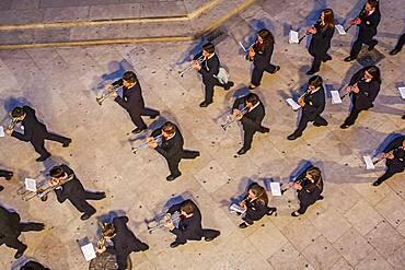 Flower offering,Music tribute to `Virgen de los desamparados´ Fallas festival,San Vicente Martir Street,Valencia,Spain
