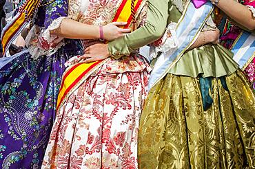 Dress Detail, during flower offering parade, tribute to `Virgen de los desamparados��, Fallas festival,Plaza de la Virgen square,Valencia