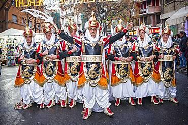 Moros y Cristianos parade during Fallas festival, in plaza del mercado, Valencia, Spain