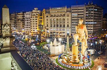 Falla of Plaza del Ayuntamiento ,Fallas festival,Valencia,Spain