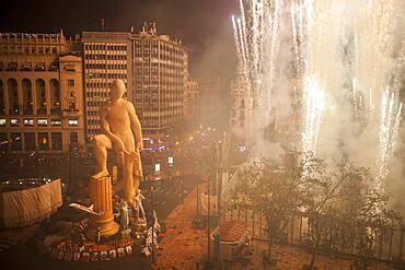 Crema, burning, Falla of Plaza del Ayuntamiento and fireworks,Fallas festival,Valencia,Spain