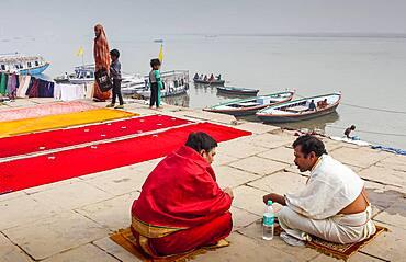 street scene, in Dasaswamedh Ghat, Ganges river, Varanasi, Uttar Pradesh, India.