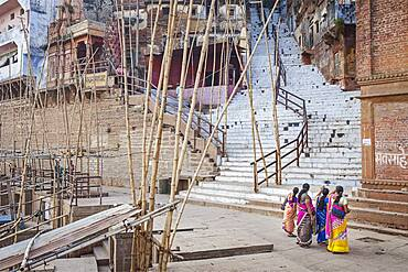 Bamboo to hold, at its top, baskets with offerings, in Panch Ganga Ghat, Ganges river, Varanasi, Uttar Pradesh, India.
