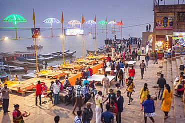 Dashashwamedh ghat (main ghat), in Ganges river, Varanasi, Uttar Pradesh, India.