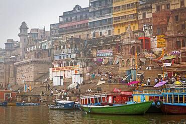Ahilya Bai ghat and Munshi ghat, in Ganges river, Varanasi, Uttar Pradesh, India.