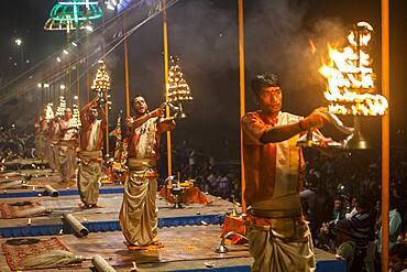 Every night, Nightly puja on Dashaswamedh Ghat, Varanasi, Uttar Pradesh, India